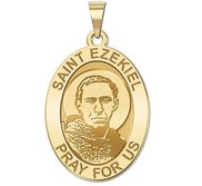 Saint Ezekiel Religious Oval Medal   EXCLUSIVE