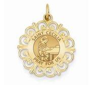 Saint Cecilia Round Filigree Religious Medal   EXCLUSIVE