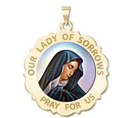 Our Lady of Sorrows Scalloped Round Religious Medal  Color EXCLUSIVE