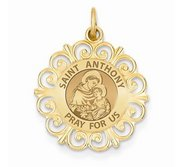 Saint Anthony Round Filigree Religious Medal   EXCLUSIVE