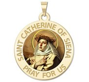 Saint Catherine of Siena Round Religious Medal    Color EXCLUSIVE