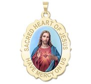 Sacred Heart of Jesus Scalloped Religious Medal  Color EXCLUSIVE