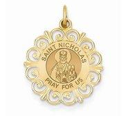 Saint Nicholas Round Filigree Religious Medal   EXCLUSIVE