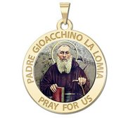 Padre Gioacchino La Lomia Round Religious Medal   Color EXCLUSIVE