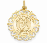 Saint Dominic Round Filigree Religious Medal   EXCLUSIVE
