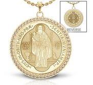 Saint Benedict Diamond Studded Round Religious Jubilee Medal    EXCLUSIVE