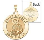 Saint Gerard Round Religious  Motherhood  Prayer Double Sided Religious Medal