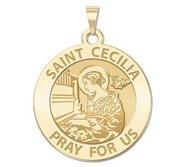 Saint Cecilia Round Religious Medal  Piano Organ     EXCLUSIVE
