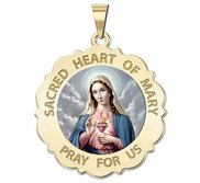Sacred Heart of Mary Scalloped Religious Medal