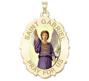 Saint Gabriel Scalloped Oval Religious Medal   Color EXCLUSIVE