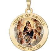Queen of Angels Religious Medal  Color EXCLUSIVE