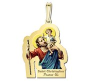 Saint Christopher Outlined Religious Medal   Color EXCLUSIVE