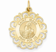Saint Mark Round Filigree Religious Medal   EXCLUSIVE