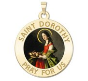 Saint Dorothy Round Religious Medal  Color EXCLUSIVE