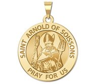 Saint Arnold of Soissons Round Religious Medal  EXCLUSIVE