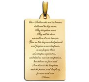 Rectangle with  Lord s Prayer  Script Pendant