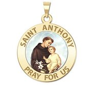 Saint Anthony Round Religious Medal  Color EXCLUSIVE