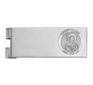 Stainless Steel Engravable Saint Clare of Assisi Money Clip