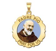 Padre Pio Scalloped Round Religious Medal  Color EXCLUSIVE