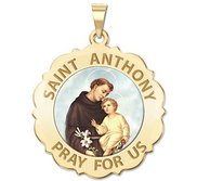 Saint Anthony Scalloped Round Religious Medal  Color EXCLUSIVE
