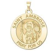 Saint Ambrose Round Religious Medal  EXCLUSIVE