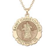 Saint Christopher Scalloped Round Religious Medal    EXCLUSIVE
