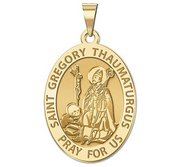 Saint Gregory Thaumaturgus Oval Religious Medal  EXCLUSIVE