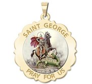 Saint George Scalloped Round Religious Medal  Color EXCLUSIVE