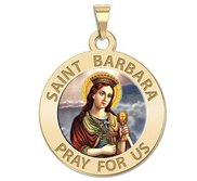 Saint Barbara Round Religious Medal  EXCLUSIVE
