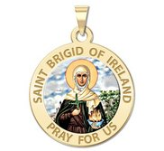 Saint Brigid of Ireland Round Color Religious Medal    EXCLUSIVE