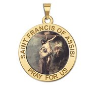 Saint Francis of Assisi Round Religious Medal   embracing Christ  Color EXCLUSIVE