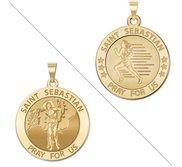 Female Runner   Saint Sebastian Doubledside Sports Religious Medal  EXCLUSIVE