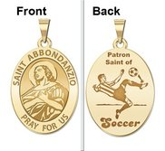 Saint Abbondanzio Oval Double Sided Soccer Religious Medal  EXCLUSIVE