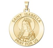 Saint Isabella Round Religious Medal   EXCLUSIVE