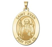 Saint Evan Oval Religious Medal   EXCLUSIVE