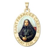 Saint Frances Cabrini Round Religious Medal   Color EXCLUSIVE
