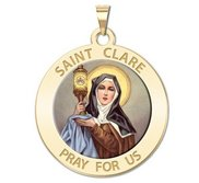 Saint Clare of Assisi Round Religious Medal    Color EXCLUSIVE