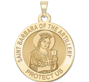 Saint Barbara of Artillery Round Religious Medal  EXCLUSIVE