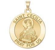 Saint Cecilia Round Religious Medal    EXCLUSIVE