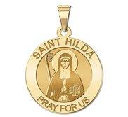 Saint Hilda Round Religious Medal   EXCLUSIVE