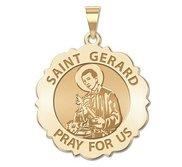 Saint Gerard Scalloped Round Religious Medal  EXCLUSIVE