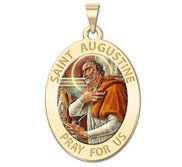 Saint Augustine of Hippo Oval Color Religious Medal  EXCLUSIVE