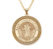 Saint Christopher Round Rope Border Religious Medal