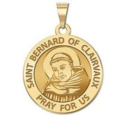 Saint Bernard of Clairvaux Round Religious Medal   EXCLUSIVE