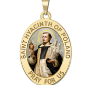 Saint Hyacinth of Poland OVAL Religious Medal Color