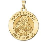 Saint Elijah Round Religious Medal   EXCLUSIVE