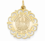 Infant of Prague Round Filigree Religious Medal   EXCLUSIVE