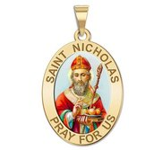 Saint Nicholas OVAL Religious Medal   Color EXCLUSIVE