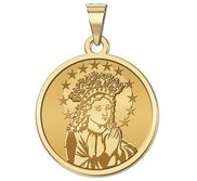 Young Virgin Mary Round Religious Medal   EXCLUSIVE