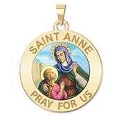 Saint Anne Round Religious Medal  Color EXCLUSIVE